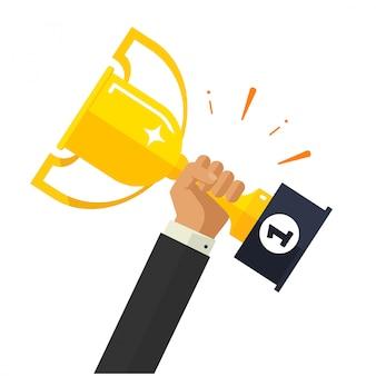 Cel biznesowy osiągnięcie lub biznesmen trzyma złotą filiżankę nagrodę