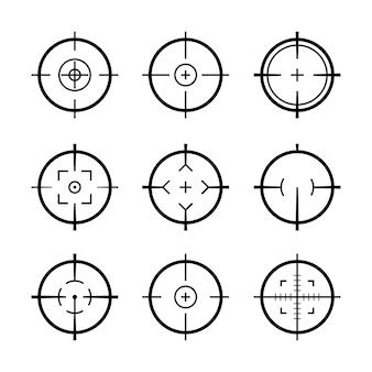 Cel cel ikony zestaw wojskowy. celownik celownika celownika armii snajperskiej do pistoletu lub karabinu.