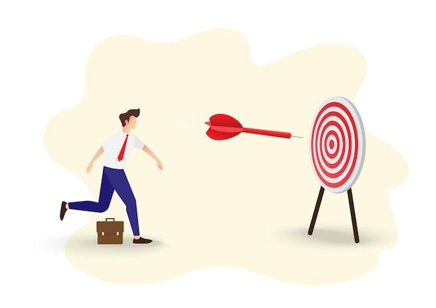 Cel i strategia biznesowa. pomysł na biznes. biznesmen rzucanie rzutką na cel. symbol celów biznesowych, celów, misji, szansy i wyzwania. ilustracja wektorowa.