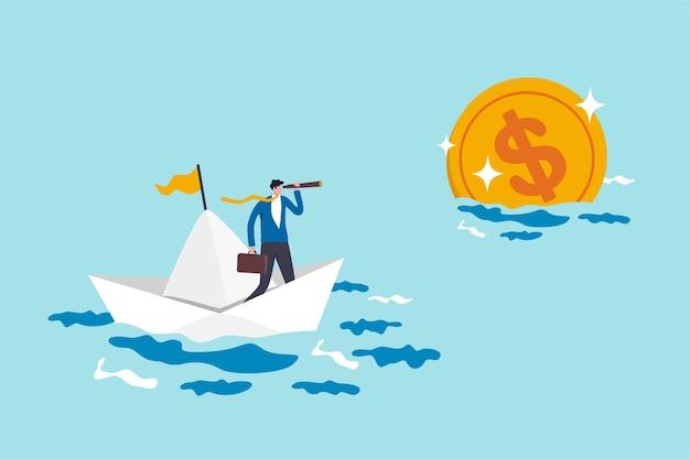 Cel planowania finansowego, wizja i strategia na rzecz wolności finansowej lub koncepcji celu oszczędzania na emeryturę, biznesmen pensja inwestor jeżdżący łodzią za pomocą teleskopu, aby zobaczyć daleko złotą monetę pieniężną.