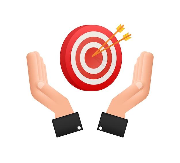 Cel ze strzałką na rękach płaska ikona koncepcja rynek cel wektor obraz obrazu