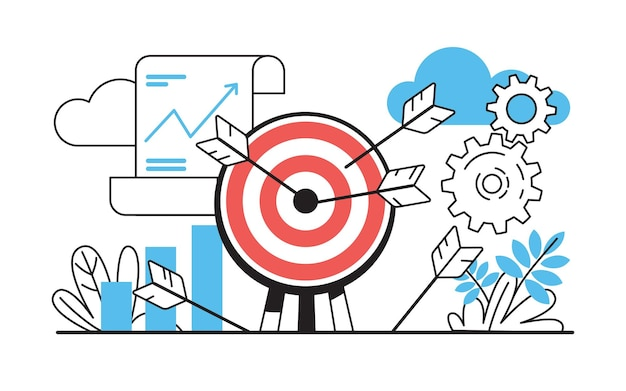 Cel ze strzałkami. wyzwanie biznesowe z celami i osiągnięciami, koncepcja sukcesu strategii projektu