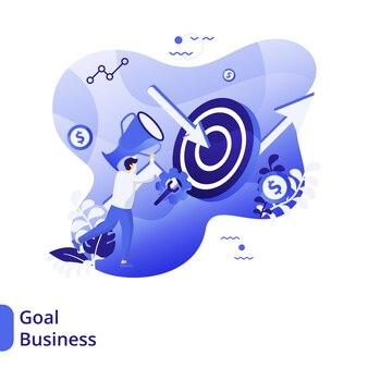 Cele biznesowe flat illustration, koncepcja mężczyzn niosących trofea