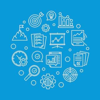 Cele biznesowe okrągłe ikony konspektu
