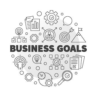 Cele biznesowe okrągłe ikony w stylu konspektu