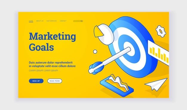 Cele marketingowe. izometryczne ilustracji wektorowych celu ze strzałką wśród wykresów reprezentujących osiągnięcie celów marketingowych na banerze internetowym. izometryczny baner internetowy, szablon strony docelowej
