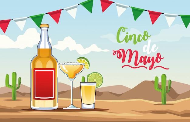 Celebracja cinco de mayo z pustynną sceną z napojami tequili