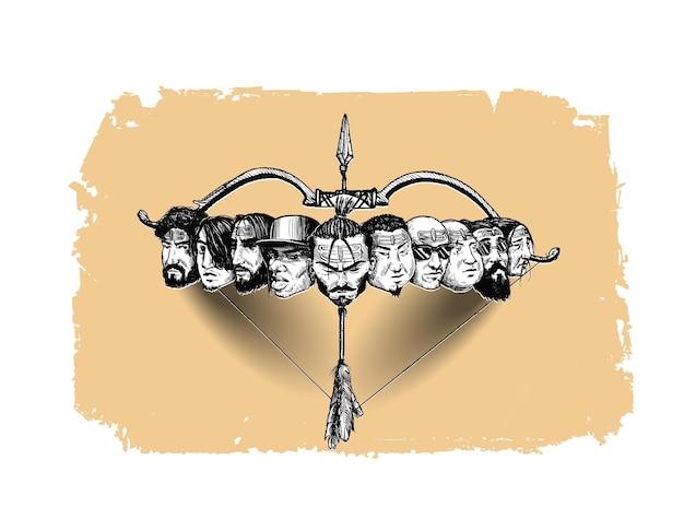 Celebracja dasera - ravana dziesięć głów z łukiem i strzałą, ręcznie rysowane szkic wektor ilustracja.