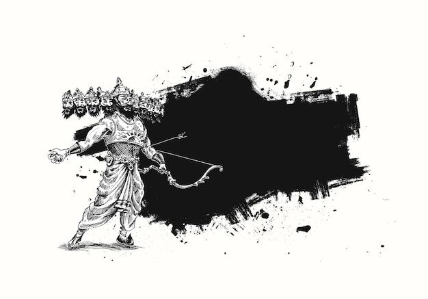 Celebracja dasera - ravana z dziesięcioma głowami, ilustracja streszczenie ręcznie rysowane szkic wektor.