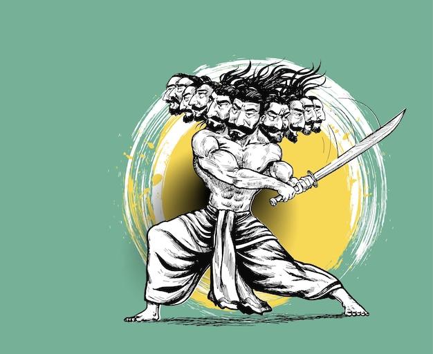 Celebracja dasera - ravana z mieczem, ręcznie rysowane szkic wektor ilustracja.