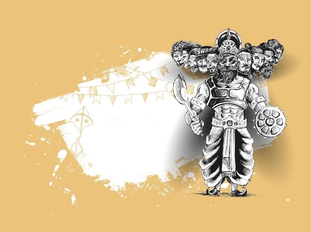 Celebracja dasera - zły ravana z dziesięcioma głowami, ręcznie rysowane szkic wektor ilustracja.