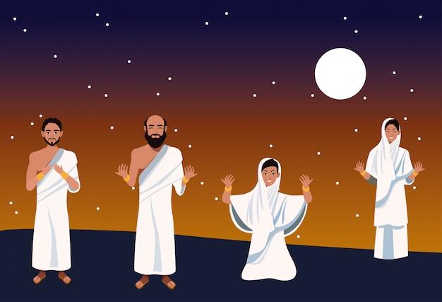Celebracja hadżdż mabrour z grupą pielgrzymów islamskich w nocy