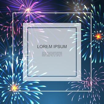 Celebracja kolorowe jasne tło z ramką na tekst i realistyczną świąteczną musującą ilustracją fajerwerków