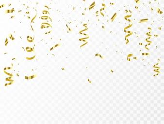 Celebracja konfetti i złote wstążki