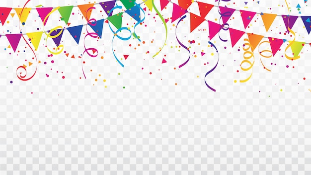 Celebracja konfetti wstążki i ramki flagi.