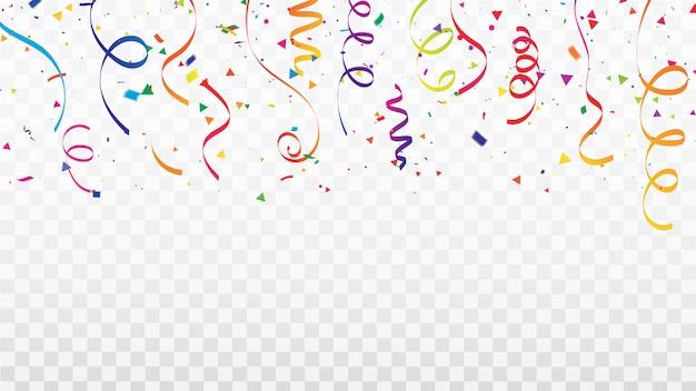 Celebracja konfetti wstążki ramki.