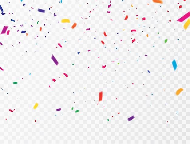 Celebration confetti kolorowe wstążki. karta luksusowa z bogatym powitaniem.