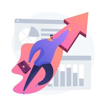 Celowy biznesmen z teczką. aspiracja, ambicja, pogoń. motywacja do kariery, startup. idea rozwoju zawodowego. innowacyjne rozwiązanie. ilustracja wektorowa na białym tle koncepcja metafora