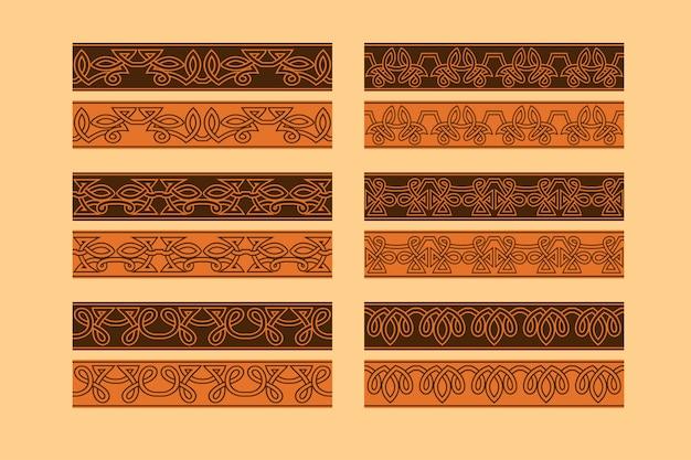 Celtic knotwork seamless border ornament set