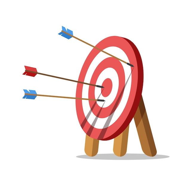 Celuj strzałkami. jedna strzała trafiła w środek celu. wyzwanie biznesowe i osiągnięcie celów.