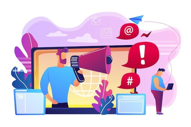 Celuj w osobę z laptopem zaatakowanym online przez użytkownika za pomocą megafonu. zawstydzanie internetu, nękanie w internecie, koncepcja działania cyberprzestępczości.