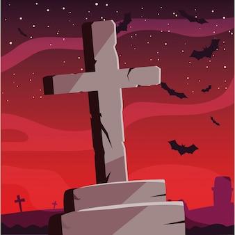 Cementowy krzyż szczęśliwy halloween uroczystości