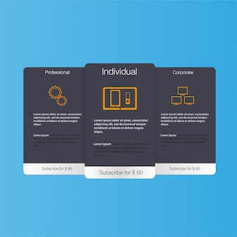 Cennik hostingu, baner dla taryf i cenników. elementy internetowe.