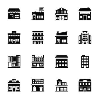 Centra handlowe glif wektorowe ikony