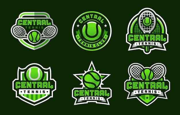 Centralne sportowe logo do tenisa