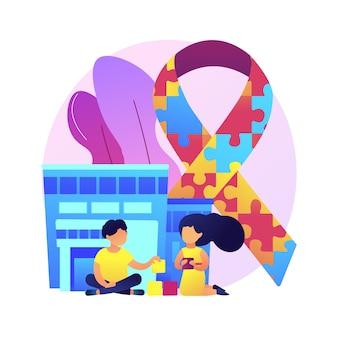 Centrum autyzmu streszczenie ilustracja koncepcja. centrum niepełnosprawności w uczeniu się, leczenie zaburzeń ze spektrum autyzmu, pomoc dzieciom ze specjalnymi potrzebami, problem rozwoju dzieci.
