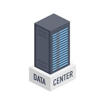 Centrum danych. baner serwisowy na komputerze mainframe, serwer rack. koncepcja serwerowni, centrum banku danych. ilustracja.