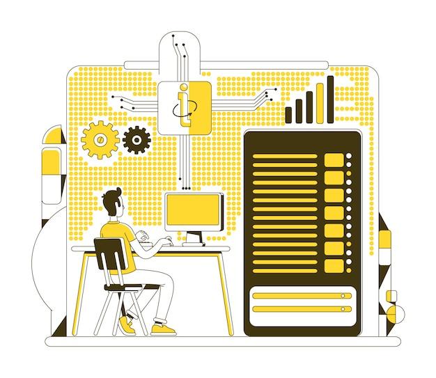 Centrum danych cienka linia ilustracja koncepcja