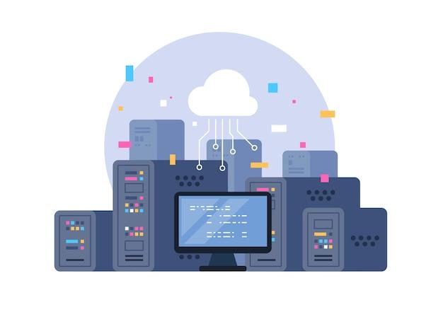 Centrum danych. hosting, przechowywanie w chmurze, przechowywanie na serwerze. big data.