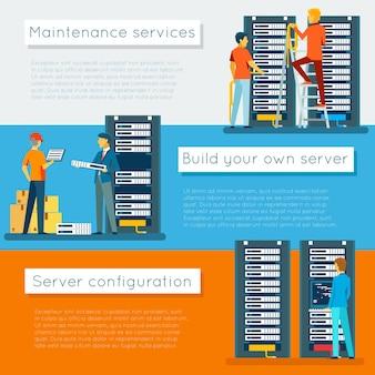 Centrum danych i hosting zestaw banerów wektorowych. sieciowa internetowa baza danych, konfiguracja i utrzymanie