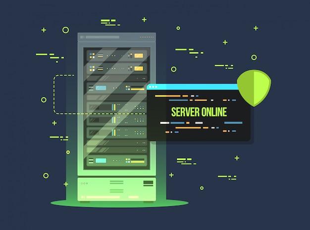 Centrum danych i serwerownia. płaskie ilustracja przechowywania i wymiany danych usługi. sprzęt serwisowy w chmurze z panelem sterowania.