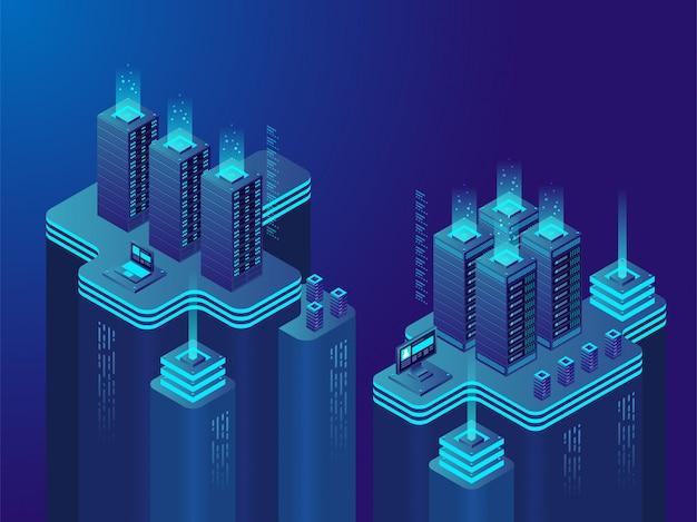 Centrum danych lub rynek kryptowalut. duża grupa serwerów komputerowych w sieci, zwykle używanych przez organizacje do zdalnego przechowywania, przetwarzania lub dystrybucji dużych ilości danych. wektor