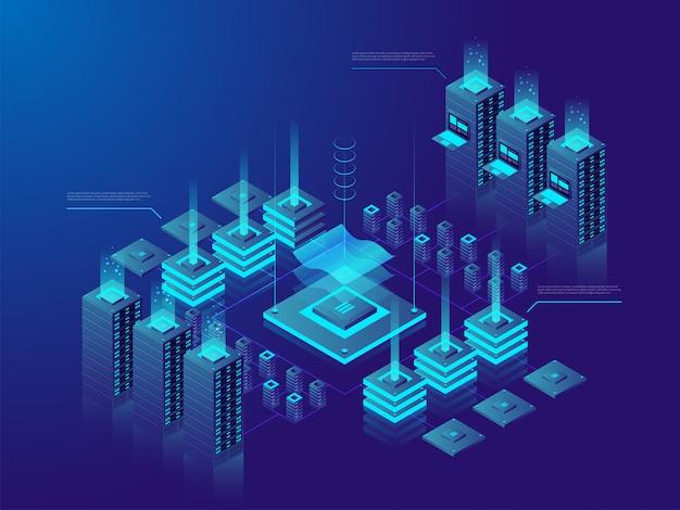 Centrum danych lub rynek kryptowalut.