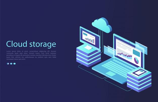 Centrum danych z urządzeniami cyfrowymi. koncepcja przechowywania w chmurze, transfer danych. technologia transmisji danych.