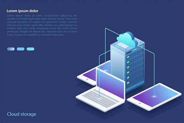 Centrum danych z urządzeniami cyfrowymi. koncepcja przechowywania w chmurze, transfer danych.