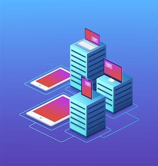 Centrum danych z urządzeniami cyfrowymi. pojęcie przechowywania w chmurze, ochrona danych, transfer danych.