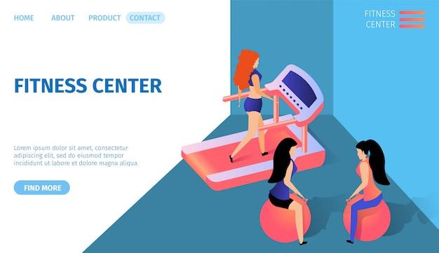Centrum fitness horyzontalny sztandar z kopii przestrzenią