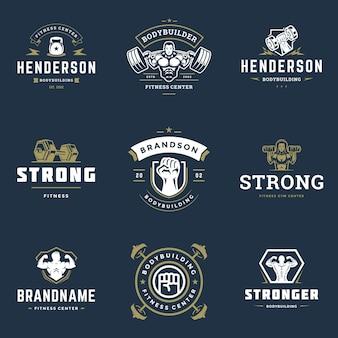Centrum fitness i sport siłownia logo i odznaki projekt zestaw ilustracji