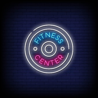 Centrum fitness neony w stylu tekstu