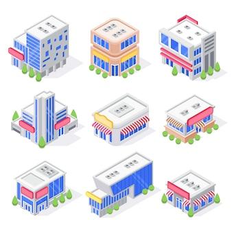 Centrum handlowe izometryczne budynki, sklep zewnętrzny, budynek super market i nowoczesna architektura sklepów miejskich na białym tle zestaw 3d