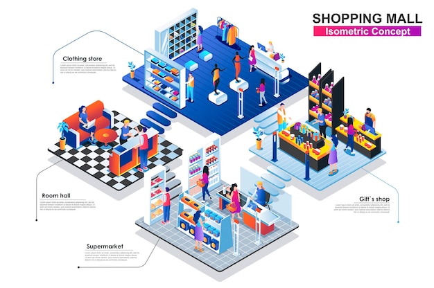 Centrum handlowe izometryczny koncepcja płaska ilustracja