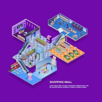 Centrum handlowe izometryczny koncepcja