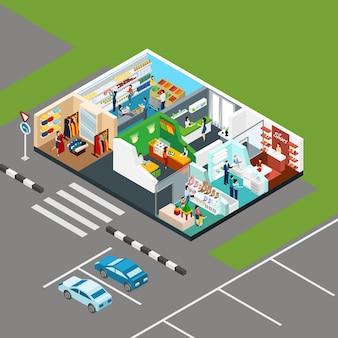 Centrum handlowe koncepcja izometryczny