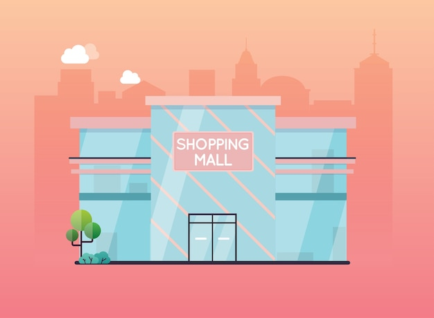 Centrum handlowe na zewnątrz budynku.
