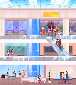 Centrum handlowe płaski kolor. kupujący w centrum. supermarket wewnątrz z ludźmi na rekreacji. kupujący w sklepach. hipermarket 2d kreskówka wnętrze z postaciami na tle