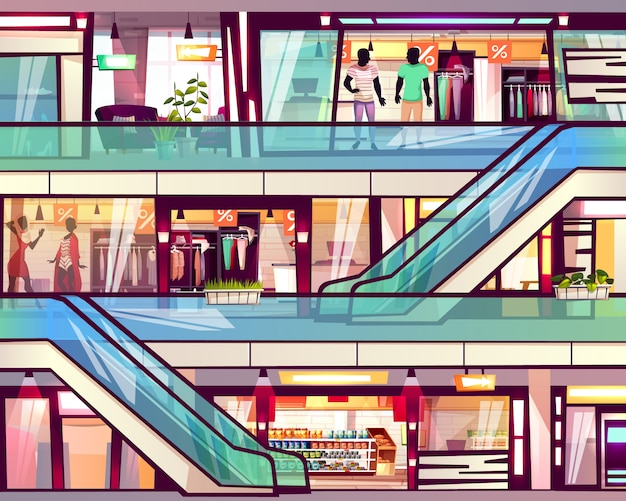 Centrum handlowe sklep z eskalatoru schody ilustracją.